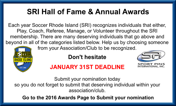 2015/2016 Hall of Fame & Award Nominations