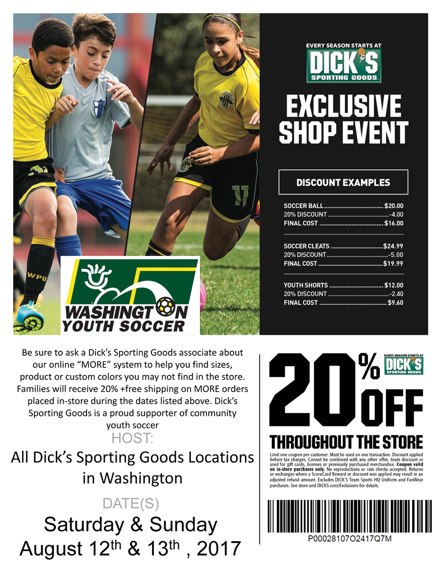 Dicks Washington Youth Soccer Shop Weekend