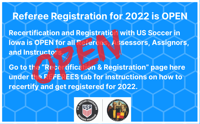 Referee Registration for 2022 is OPEN