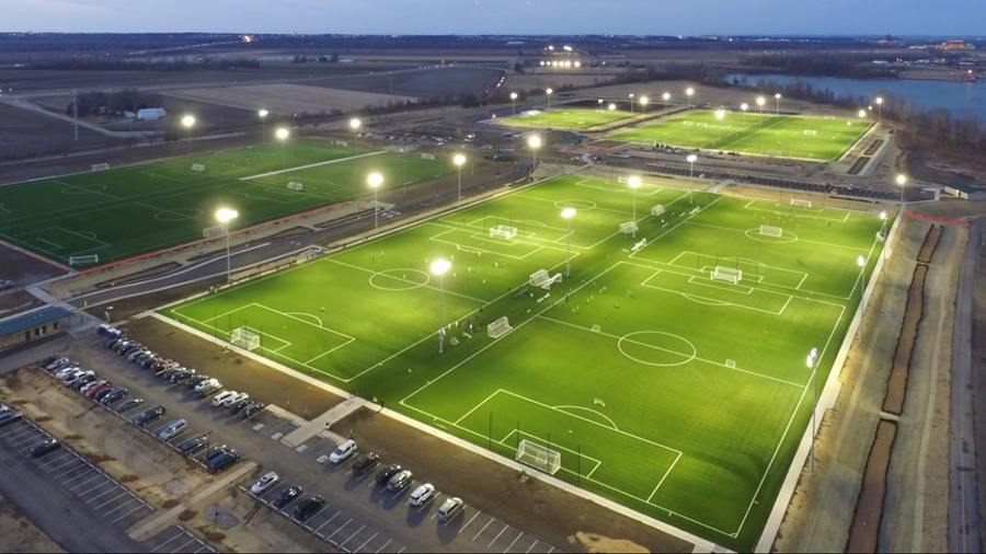 CCP Soccer Complex - Night Aerial Shot