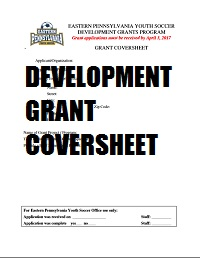 2017 Dev Grant Coversheet