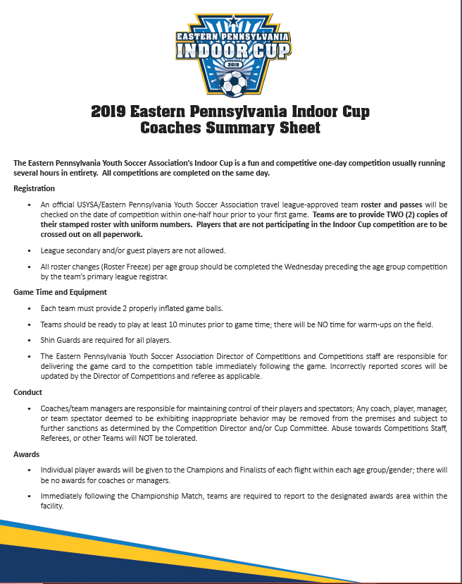Indoor Cup Coaches Summary 2019