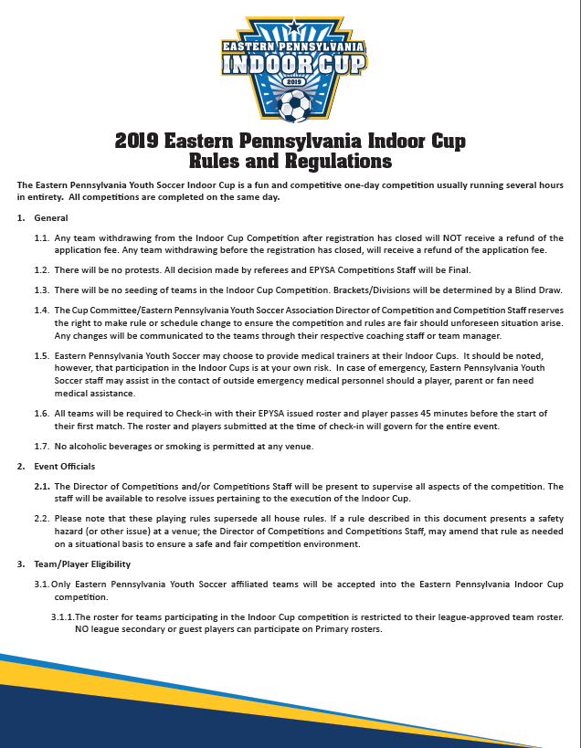 Indoor Cup Rules and Regulation 2019