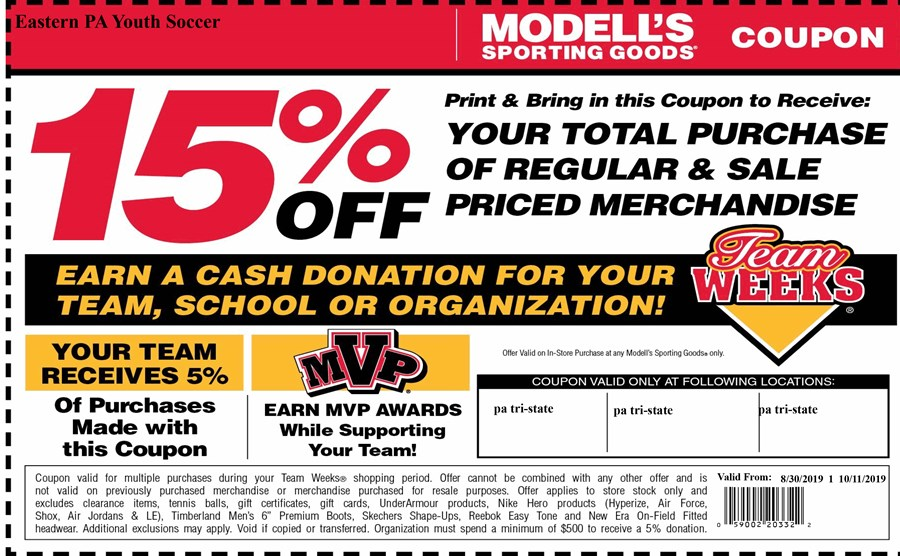 photograph regarding Modells Printable Store Coupon named Modells Staff members Months Japanese PA Youth Football