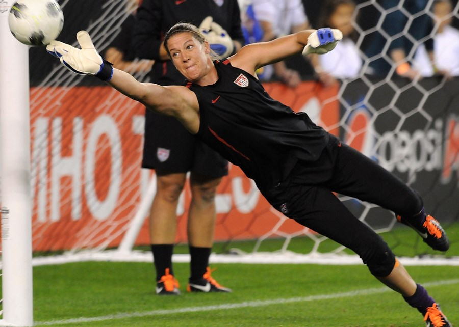Nicole Barnhart save with USWNT NGWSD