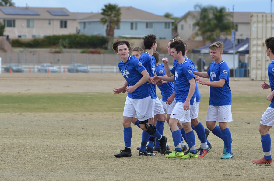U17 Boys celebrate a goal in California