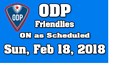 ODP Event On As Scheduled For Sunday, February 18, 2018