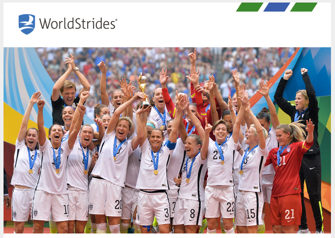 WorldStrides womens world Cup email top image