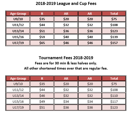 ref fees update to the update 2018
