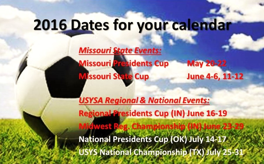 2016 Dates for your calendar