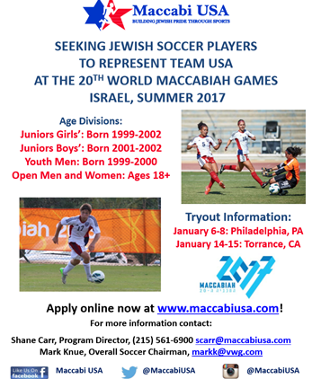 Seeking Players for the 20th World Maccabi Games