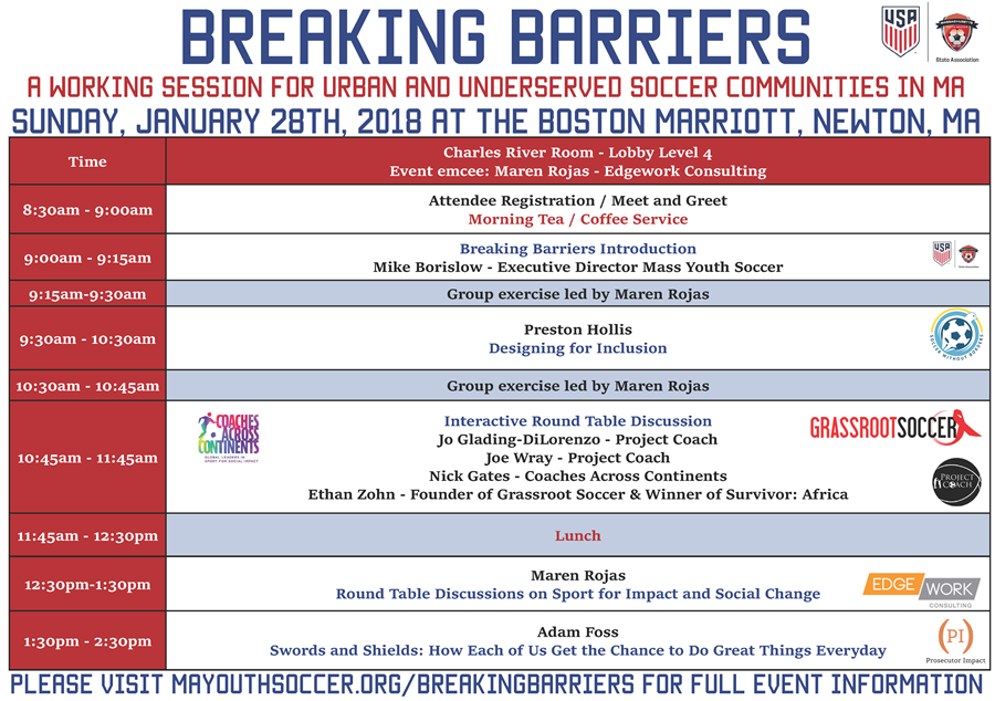 Breaking Barriers Schedule 11118