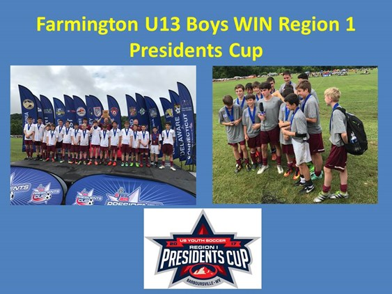 Farmington U13 Boys win Region 1 Presidents Cup