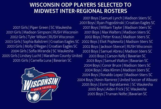 Wisconsin ODP Players Selected to 18/19...