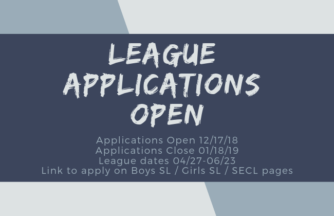 2019 Spring League Applications Open