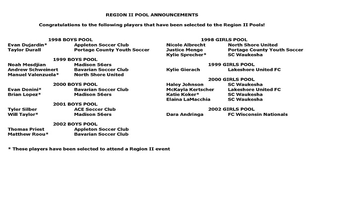 Region 2 ODP Pool Announcements
