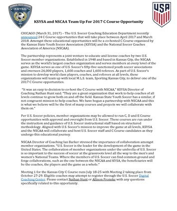 KSYSA and NSCAA Team Up For 2017 C Course...