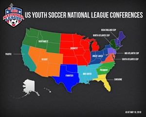 USYS National League Confernce Map
