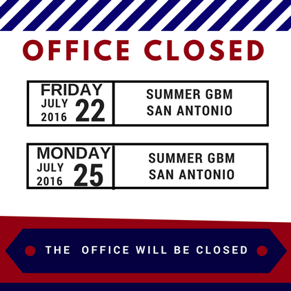 Office Closed for GBM