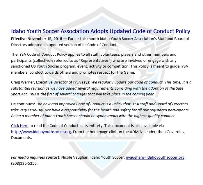 Press Release CofConduct