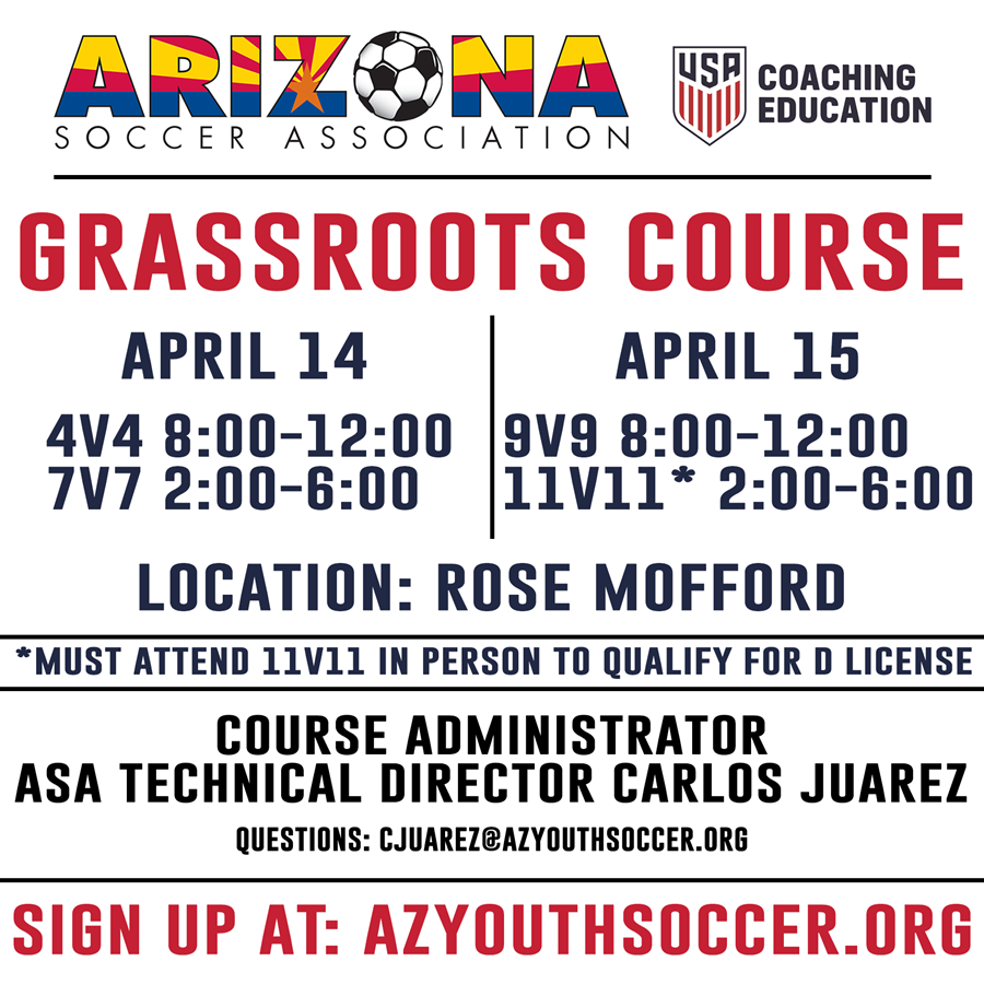 Grassroots Course Registration Now Open | Arizona Youth Soccer