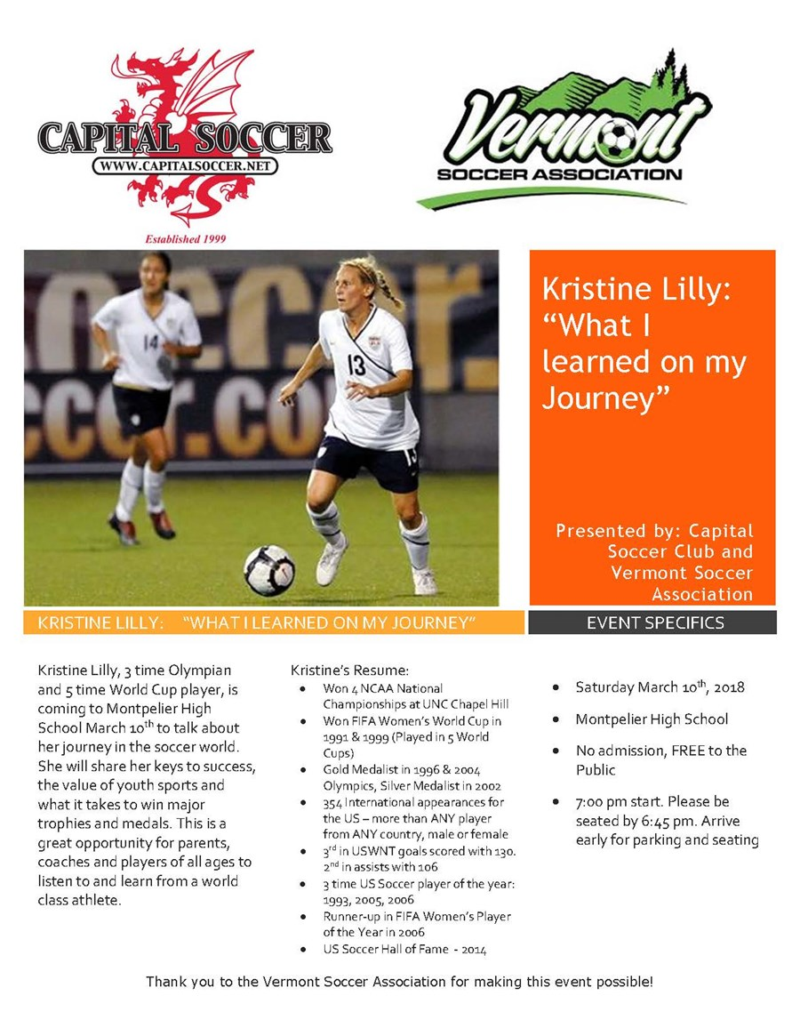 Kristine Lilly Promotional Flyer