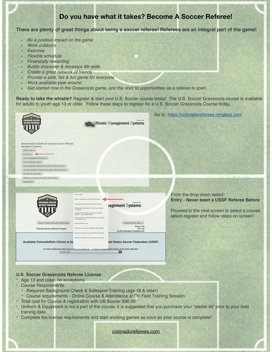 2020 Grassroots New Referee Flyer