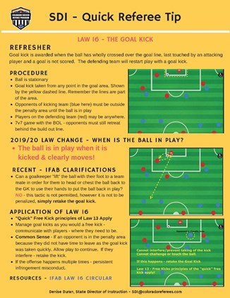 QRT Fall 2019 - Law 16: The Goal Kick