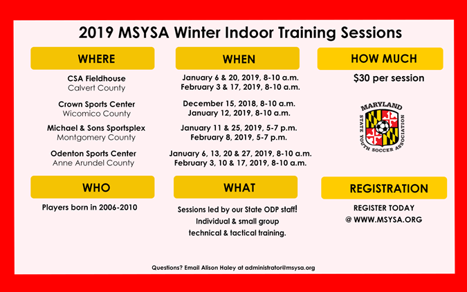 Register for the 2019 Winter Indoor Training...